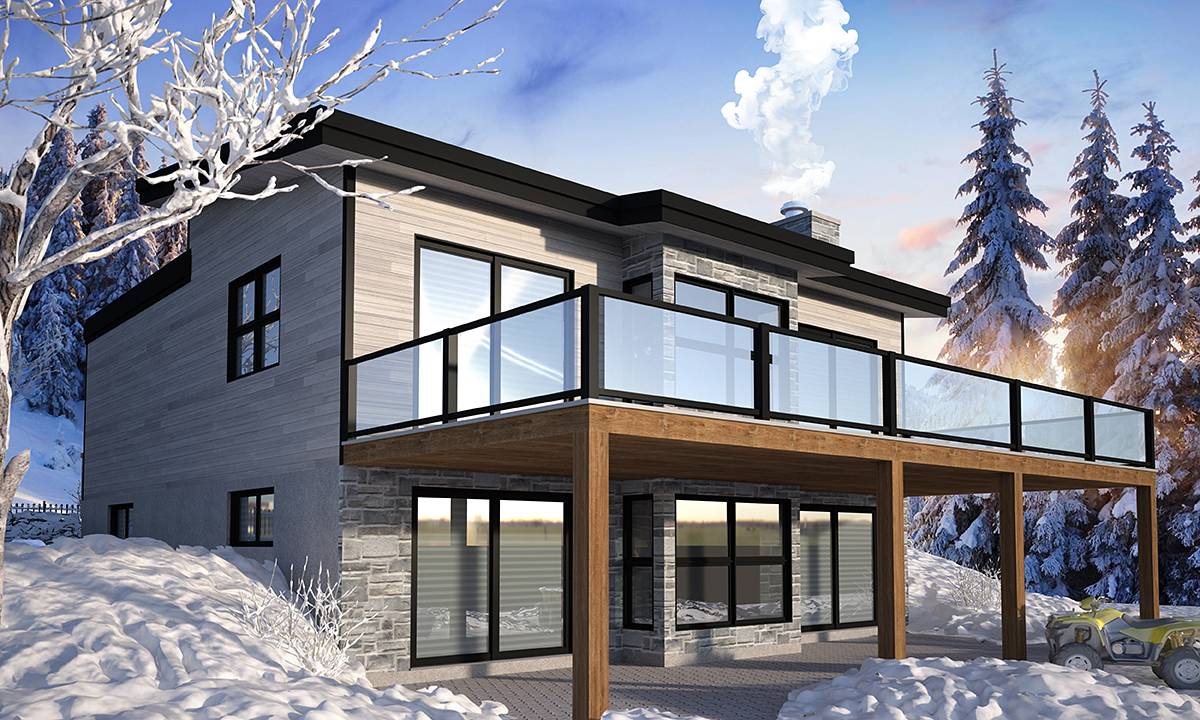 Cabin Contemporary Cottage Modern Rear Elevation of Plan 76571