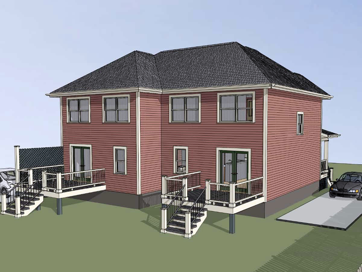 Bungalow Multi-Family Plan 76609 with 3 Beds, 2 Baths Rear Elevation