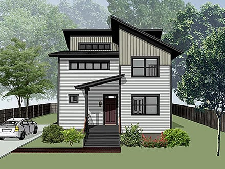 Contemporary Modern Elevation of Plan 76620
