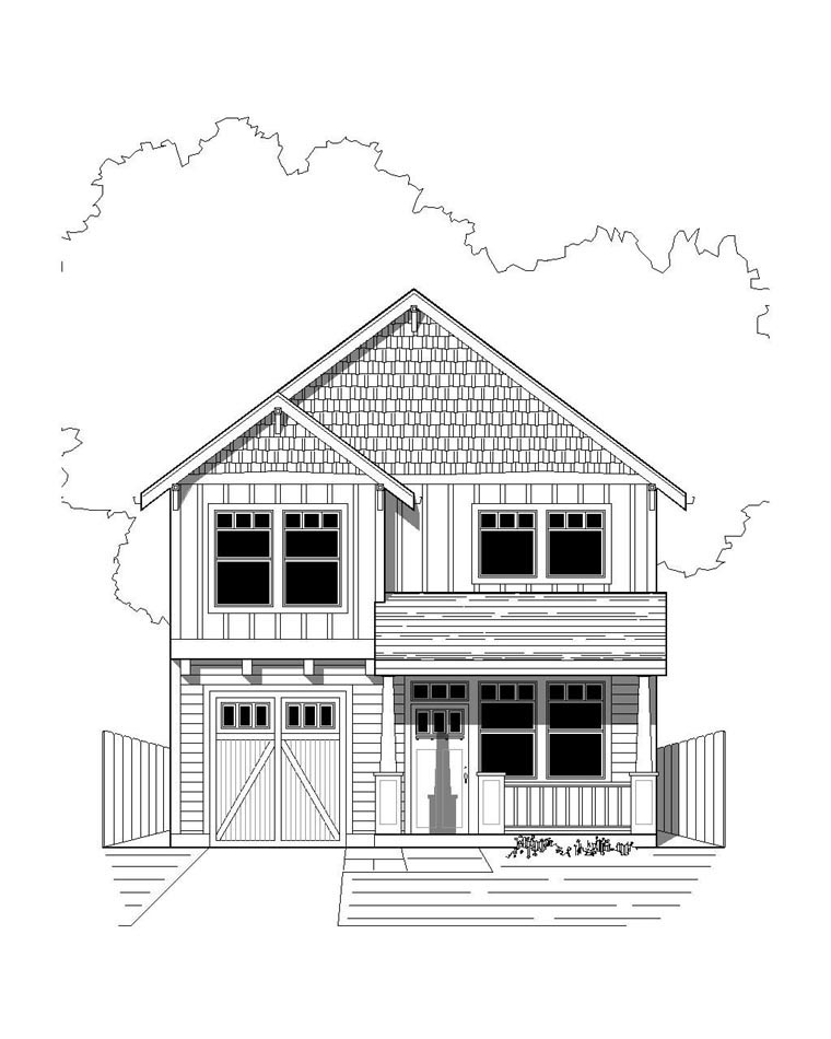 Bungalow, Craftsman House Plan 76812 with 3 Beds, 3 Baths, 1 Car Garage Elevation
