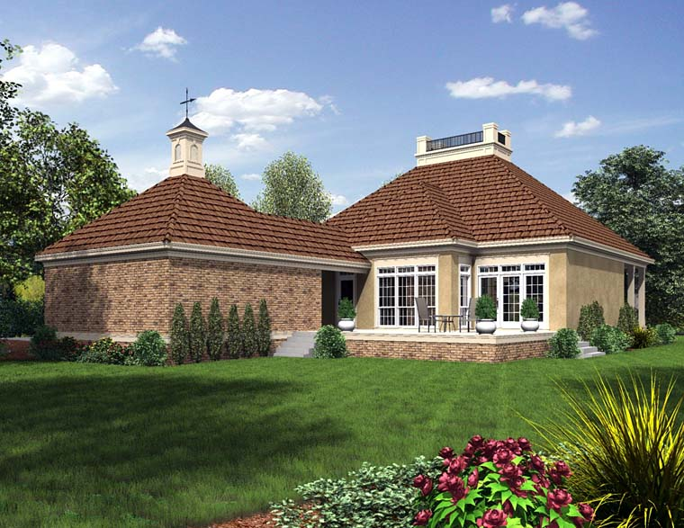 Cottage Country European French Country Southern House Plan 76919 Rear Elevation