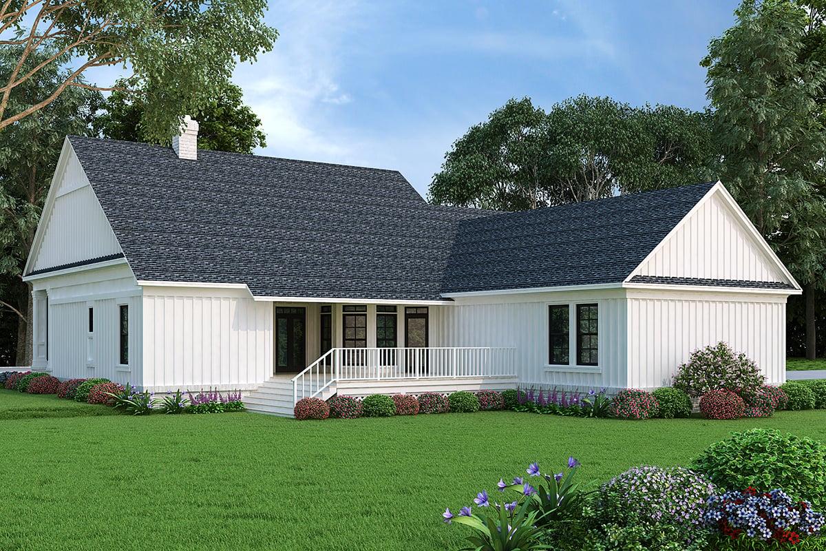 Farmhouse House Plan 76943 with 3 Beds, 2 Baths, 3 Car Garage Rear Elevation