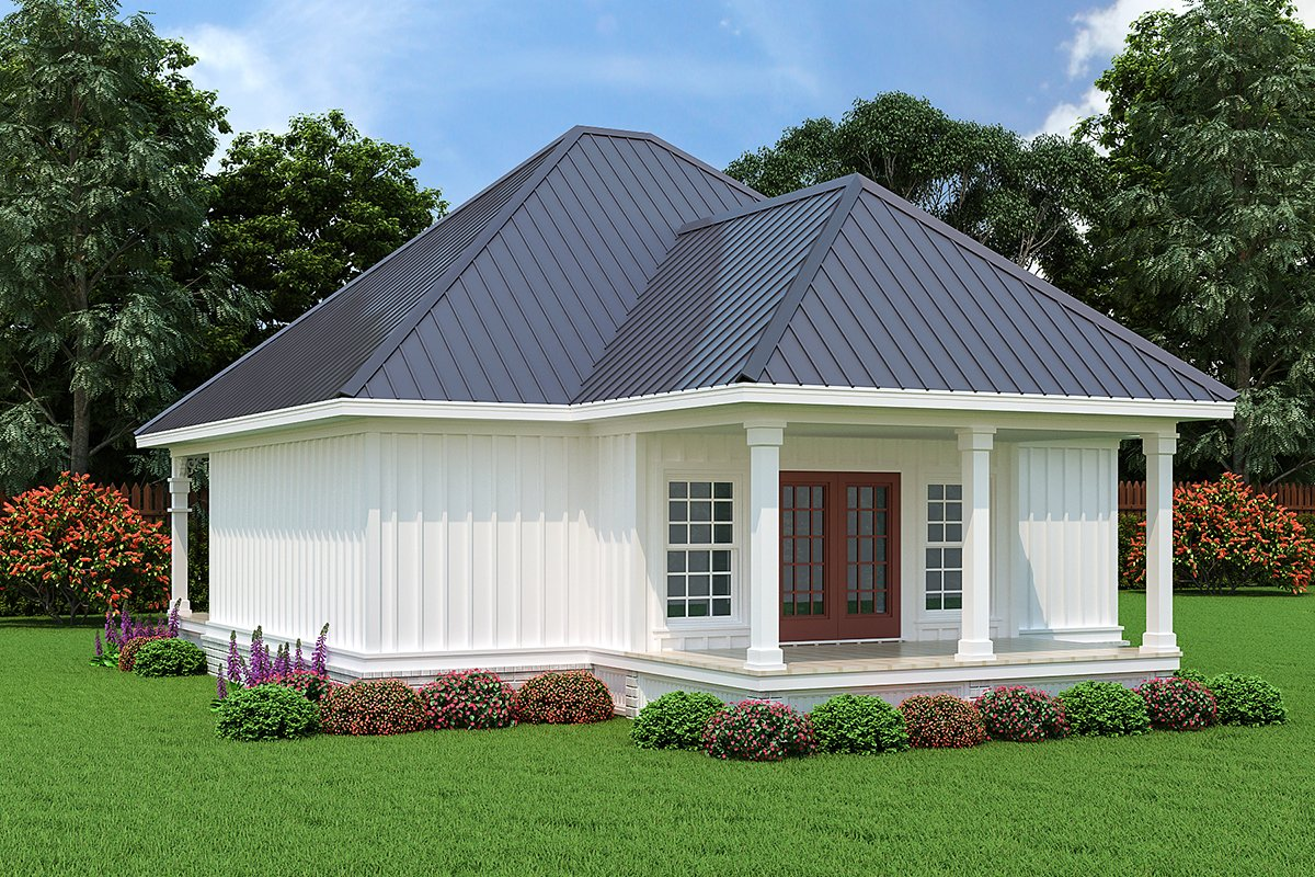 Acadian Cottage Rear Elevation of Plan 76946