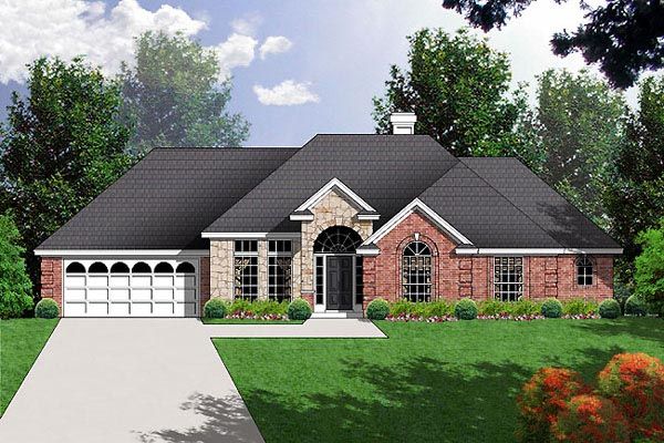 European Traditional House Plan 77024 Elevation