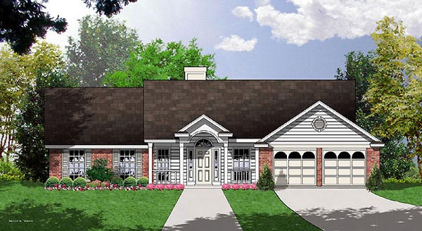 Colonial, One-Story, Traditional House Plan 77041 with 4 Beds, 2 Baths, 2 Car Garage Elevation