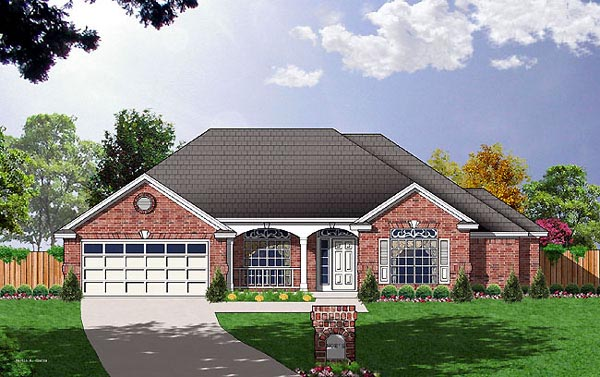Traditional House Plan 77059 with 3 Beds, 2 Baths, 2 Car Garage Elevation