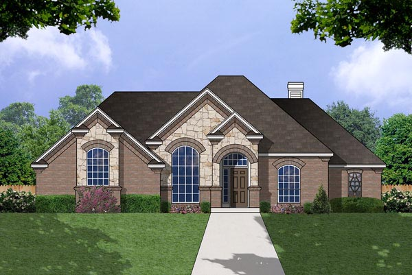 Elevation of European   House Plan 77060