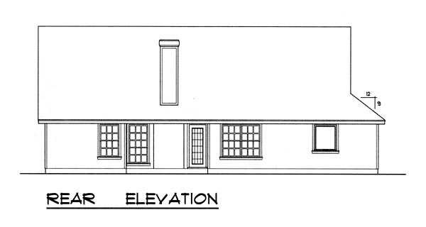 Country Traditional House Plan 77142 Rear Elevation