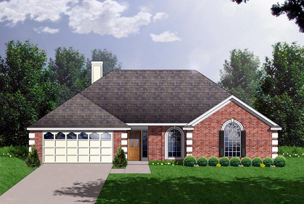 One-Story, Traditional House Plan 77143 with 3 Beds, 3 Baths, 2 Car Garage Elevation