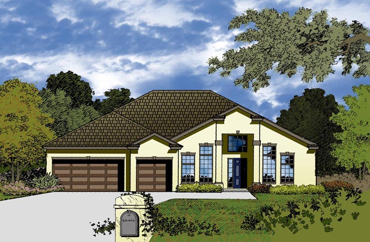 House Plan 77353 with 4 Beds, 2 Baths, 3 Car Garage Elevation