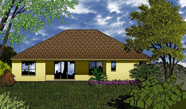 House Plan 77353 with 4 Beds, 2 Baths, 3 Car Garage Rear Elevation