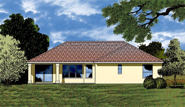 House Plan 77354 with 4 Beds, 3 Baths, 3 Car Garage Rear Elevation
