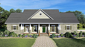 Country , Craftsman , Traditional House Plan 77401 with 3 Beds, 3 Baths, 2 Car Garage Elevation