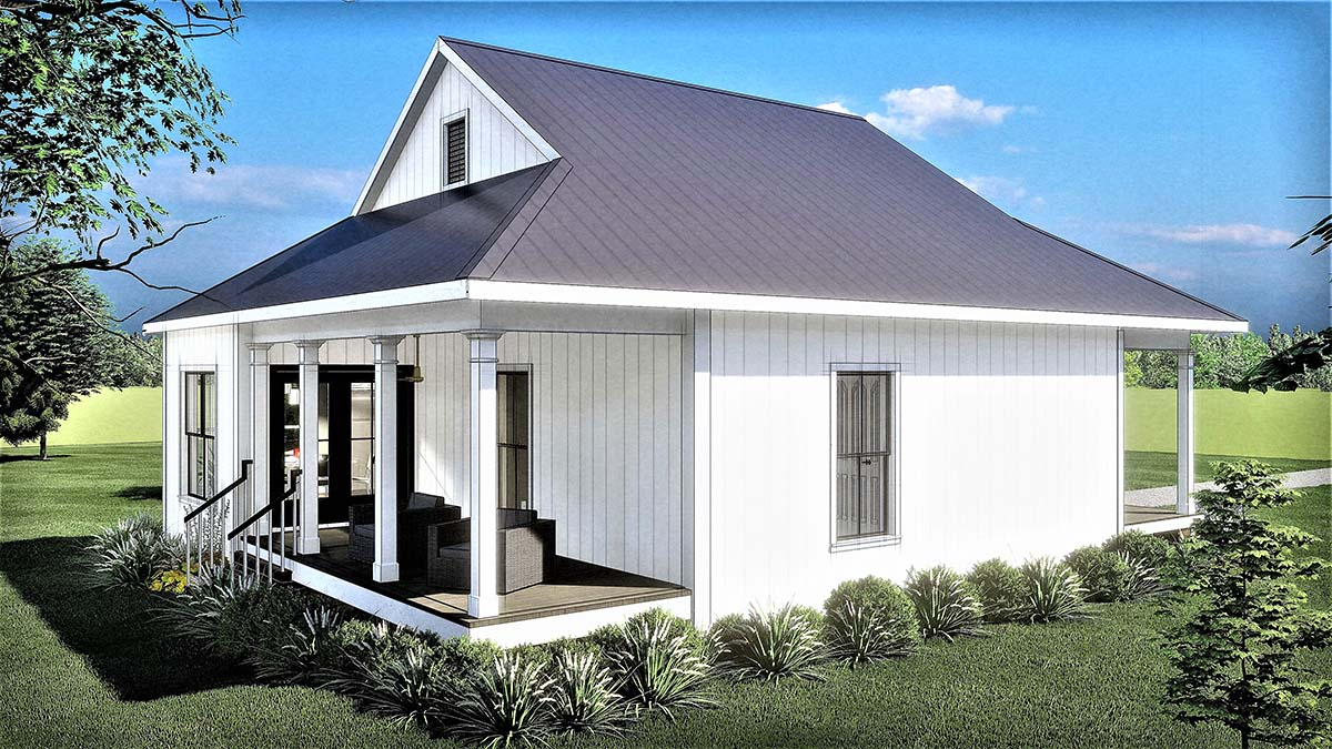 Country, Southern House Plan 77404 with 2 Beds, 1 Baths Rear Elevation