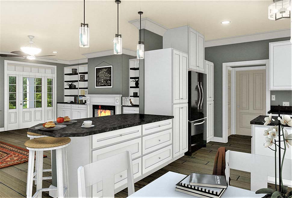 Country, Southern House Plan 77407 with 3 Beds, 2 Baths, 2 Car Garage Picture 4