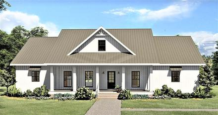 Country Southern Elevation of Plan 77408