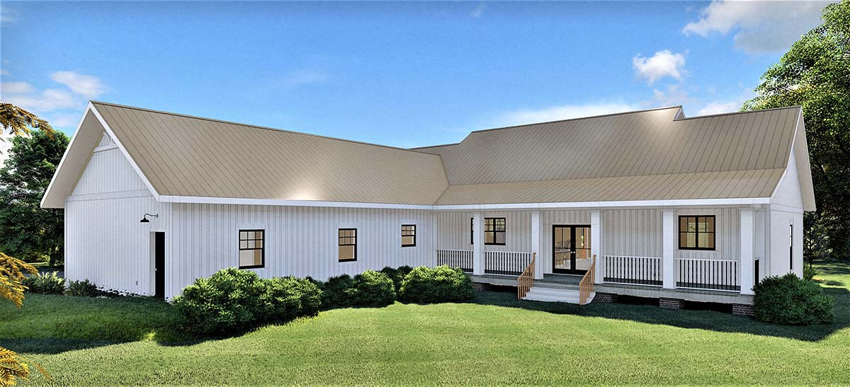 Country Southern Rear Elevation of Plan 77408
