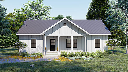 Cottage, Country, Traditional House Plan 77413 with 3 Beds, 2 Baths