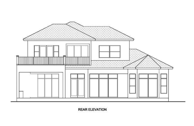 Florida, Mediterranean House Plan 78111 with 4 Beds, 4 Baths, 2 Car Garage Rear Elevation