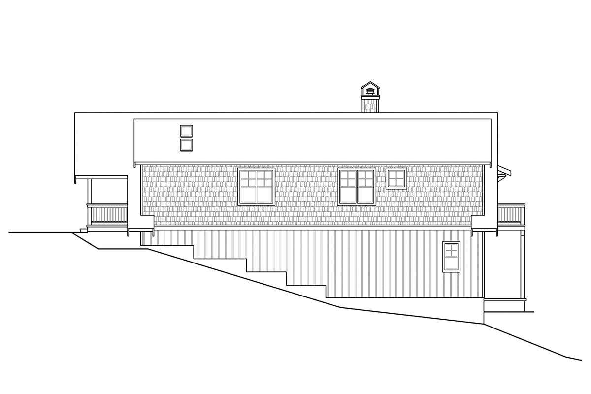 Cottage, Craftsman House Plan 78401 with 1 Beds, 2 Baths, 2 Car Garage Rear Elevation