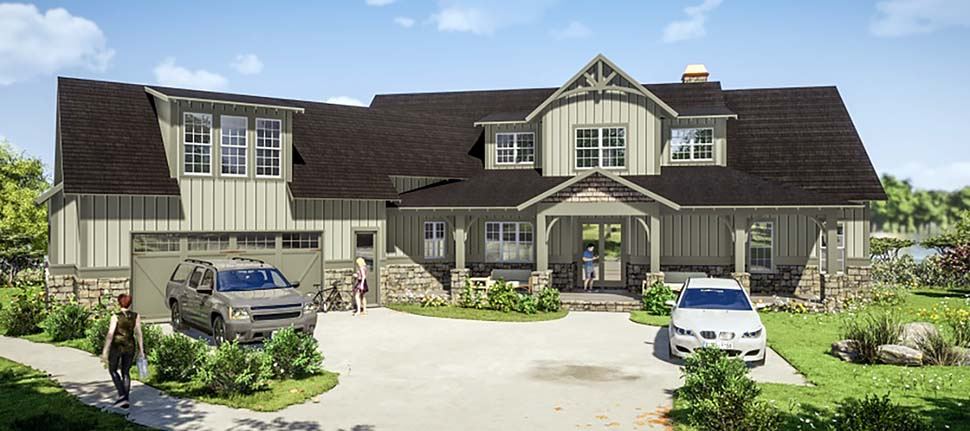 Farmhouse, Traditional House Plan 78502 with 5 Beds, 6 Baths, 2 Car Garage Elevation