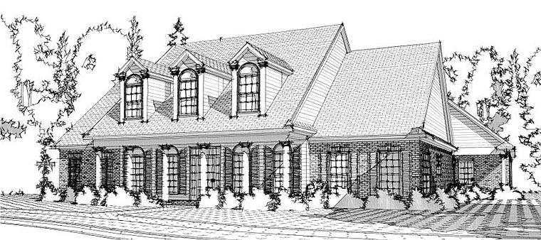 Colonial, Country, European House Plan 78647 with 4 Beds, 5 Baths, 3 Car Garage Elevation