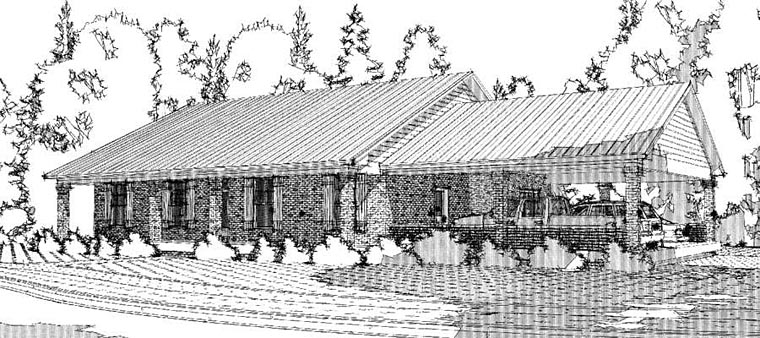 Colonial Country Ranch House Plan 78655 Elevation