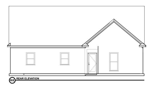 Bungalow House Plan 78776 with 2 Beds, 2 Baths Rear Elevation