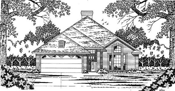 European, Narrow Lot, One-Story House Plan 79025 with 4 Beds, 2 Baths, 2 Car Garage Elevation