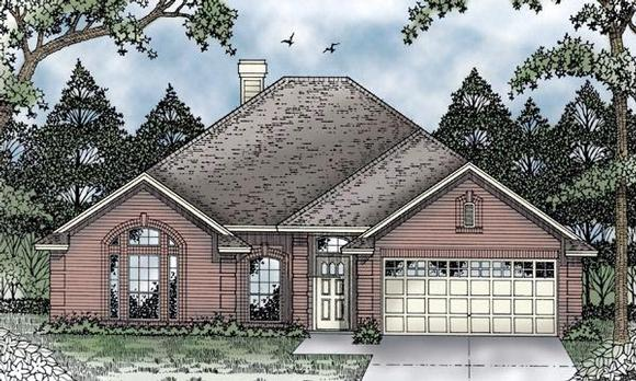 European, One-Story House Plan 79095 with 3 Beds, 2 Baths, 2 Car Garage Elevation