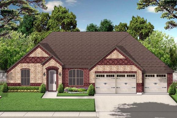 European, Traditional House Plan 79319 with 4 Beds, 3 Baths, 3 Car Garage Elevation