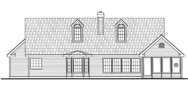 Cottage Country Farmhouse Southern Traditional House Plan 79512 Rear Elevation
