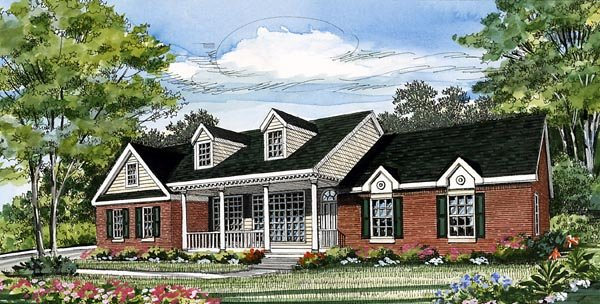 Country Farmhouse Southern Traditional House Plan 79515 Elevation