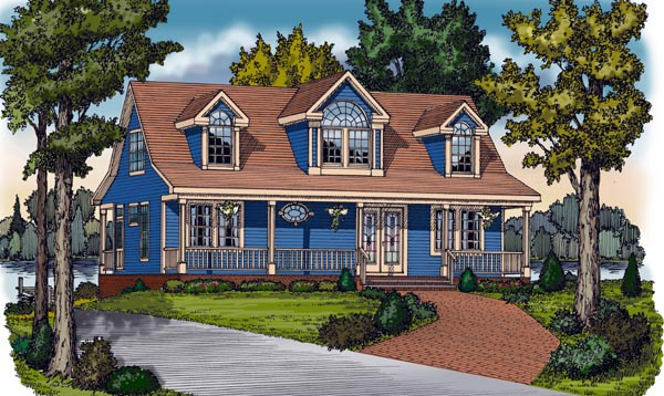 Cape cod cottage country farmhouse traditional house plan for Traditional farmhouse plans
