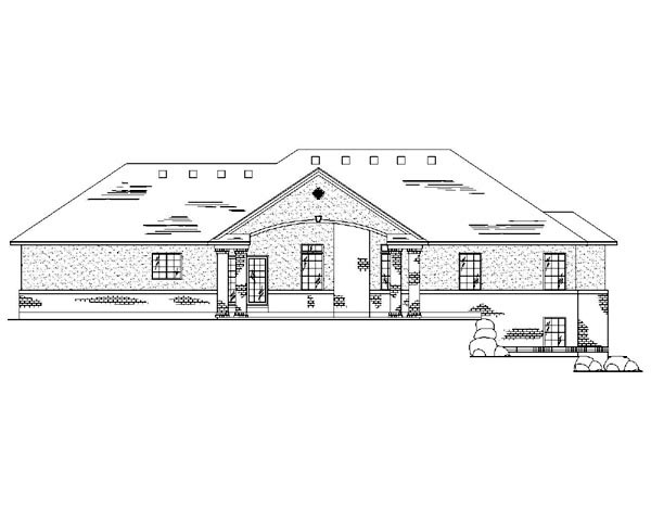 Traditional House Plan 79733 with 5 Beds, 4 Baths, 3 Car Garage Rear Elevation