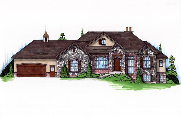 European House Plan 79755 with 5 Beds, 4 Baths, 3 Car Garage Elevation