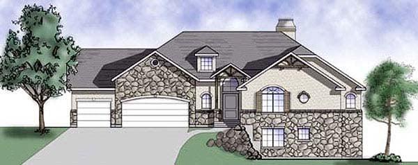 European House Plan 79794 with 5 Beds, 4 Baths, 3 Car Garage Elevation