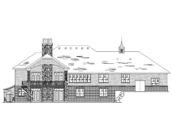 European House Plan 79851 with 6 Beds, 5 Baths, 3 Car Garage Rear Elevation