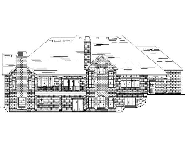 European House Plan 79870 with 6 Beds, 6 Baths, 3 Car Garage Rear Elevation