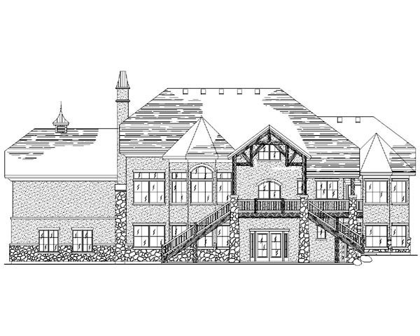 European House Plan 79901 with 6 Beds, 6 Baths, 3 Car Garage Rear Elevation