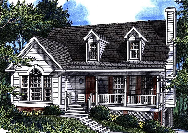 Cape Cod House Plan 80130 with 3 Beds, 3 Baths, 2 Car Garage Elevation