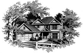 Colonial House Plan 80133 with 3 Beds, 3 Baths, 2 Car Garage Elevation