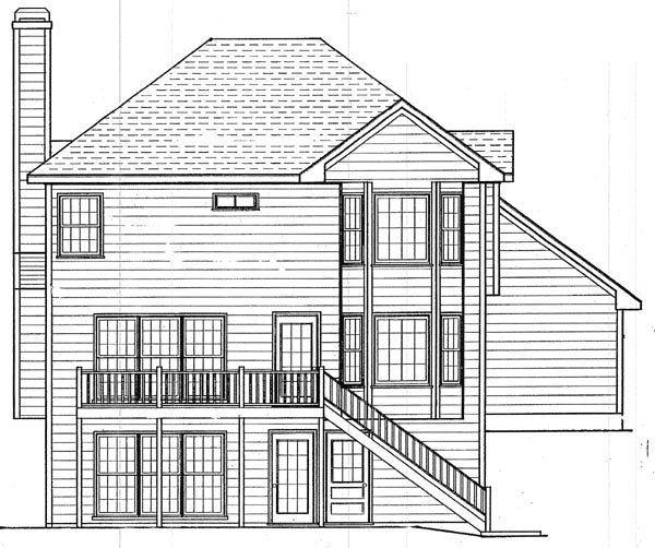 Colonial House Plan 80133 with 3 Beds, 3 Baths, 2 Car Garage Rear Elevation