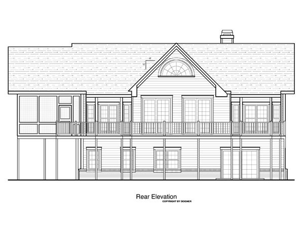Cottage House Plan 80152 with 3 Beds, 3 Baths, 2 Car Garage Rear Elevation