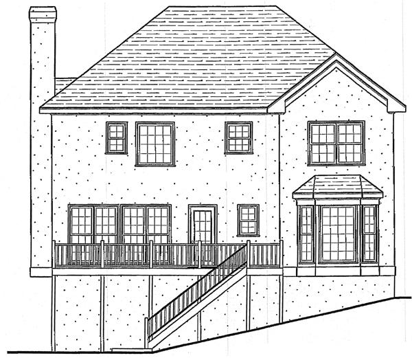 European House Plan 80186 Rear Elevation