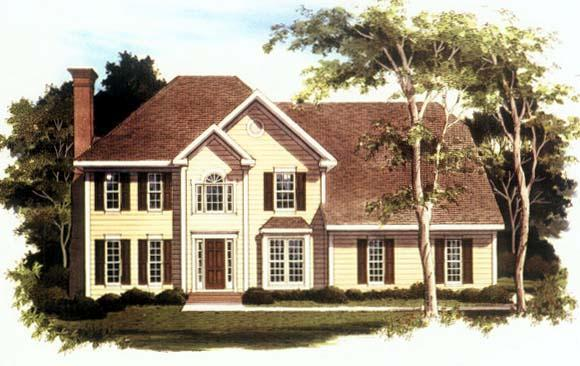 Traditional House Plan 80189 with 4 Beds, 3 Baths, 2 Car Garage Elevation