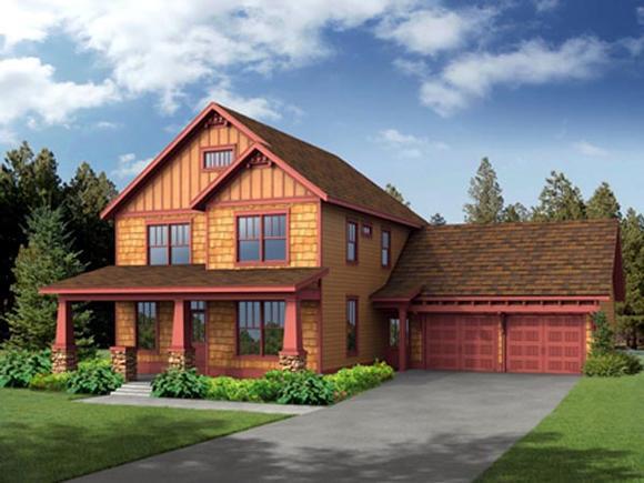 Craftsman House Plan 80196 with 4 Beds, 3 Baths, 2 Car Garage Elevation