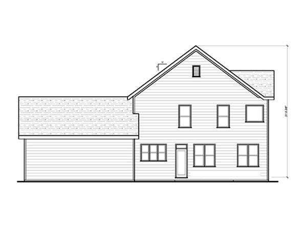 Craftsman House Plan 80196 with 4 Beds, 3 Baths, 2 Car Garage Rear Elevation