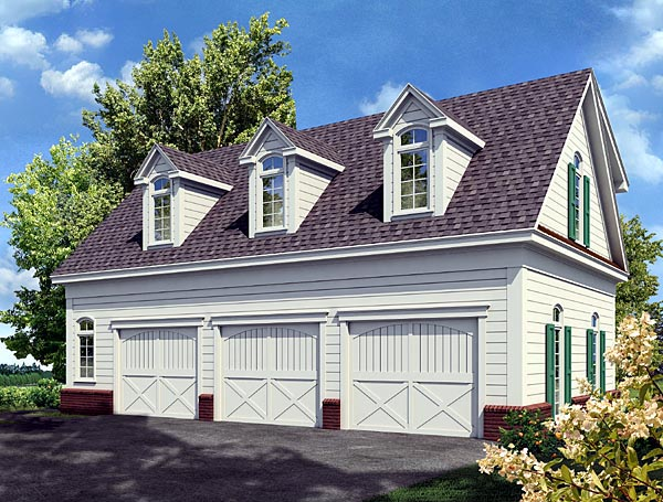 Cottage Style 3 Car Garage Apartment Plan Number 80250 with 1 Bed, 1 Bath