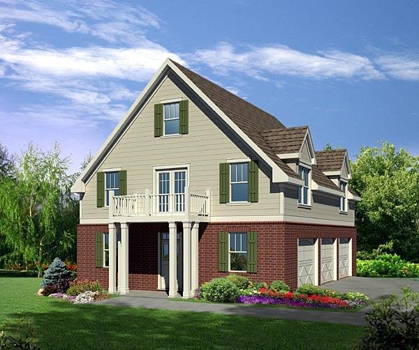 Cottage Style 3 Car Garage Apartment Plan 80251